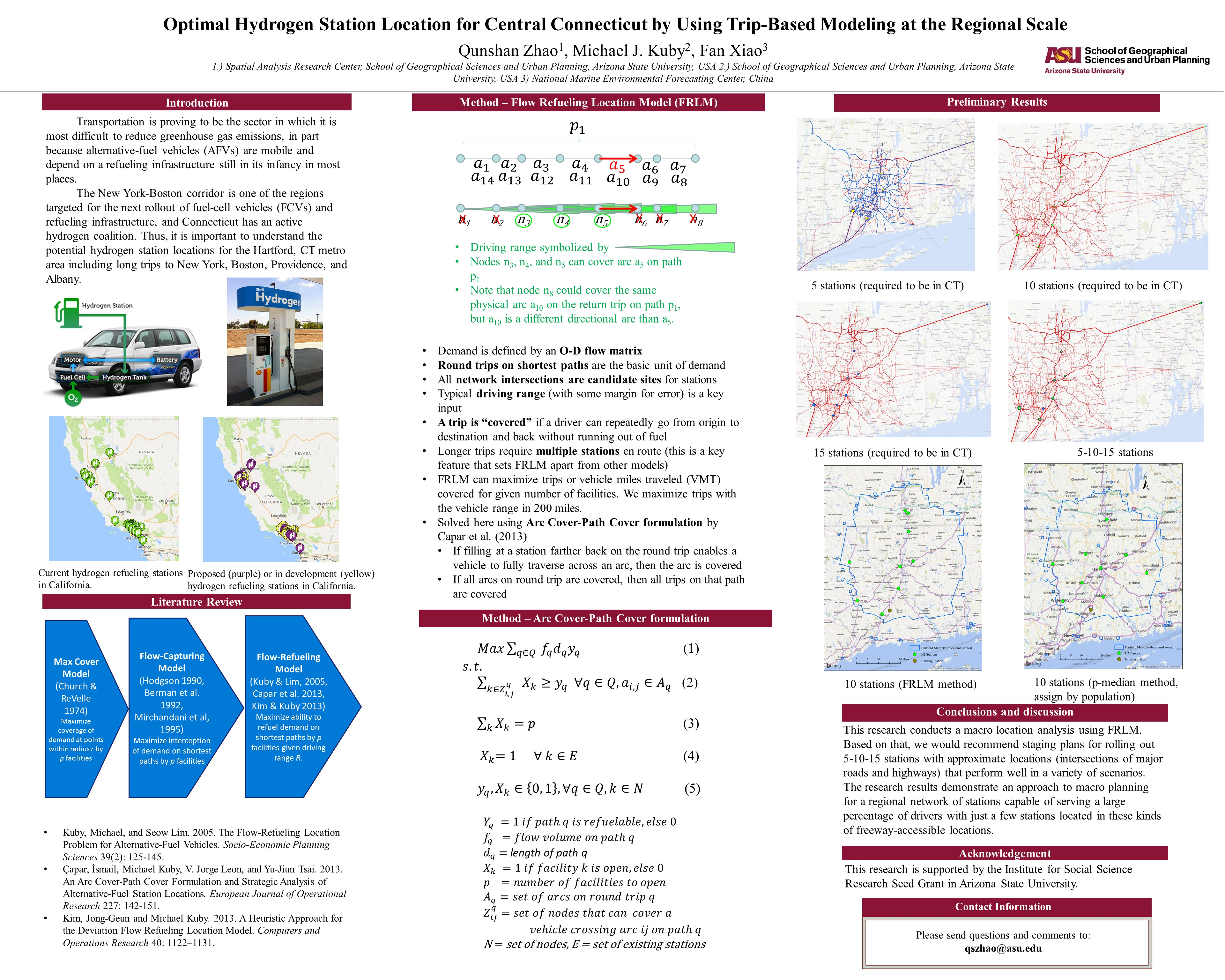 Optimal Hydrogen Station Location for Central Connecticut by Using Trip-Based Modeling at the Regional Scale
